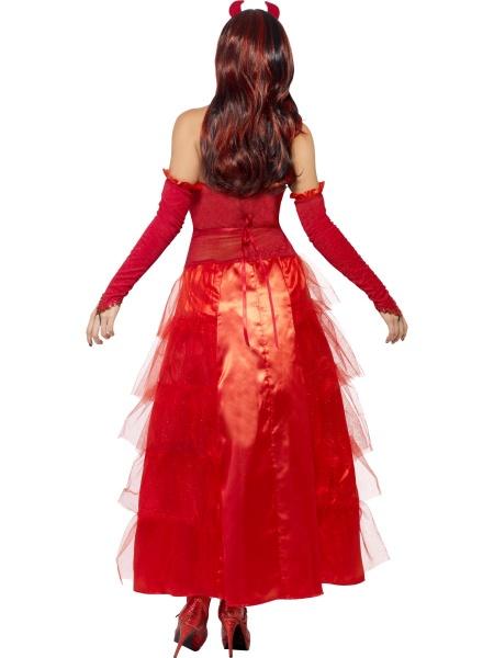 010d8a00d95b Dámský kostým čertí princezna je tvořen zdobenými rudě červenými šaty bez  rukávů