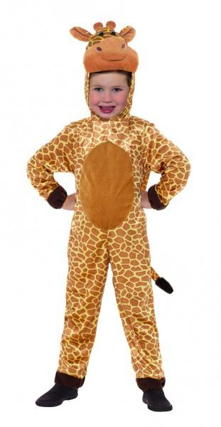 ad24a11ab5b4 Krásný dětský kostým zvědavé žirafy tvoří kombinéza s kapucí v podobě hlavy.
