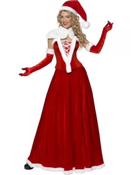 e15e56b96 Nádherný kvalitní kostým pro paní Clausové zahrnuje sukni, korzet, čepičku,  přehoz přes ramena a rukavičky. Pojmy spojené s tímto produktem: Santa,  vánoce ...